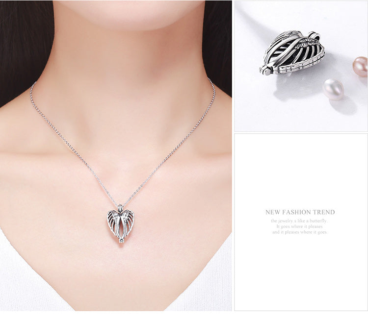 Lovely Romantic Angel Wings Cage Pendant