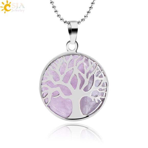 Natural Gemstone Tree of Life Necklace