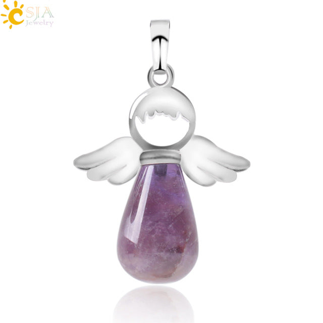 Angel Wings Natural Stone Drop Pendant Necklace