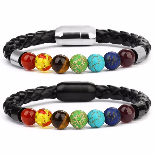 7 Chakra Natural Stone Leather Bracelet