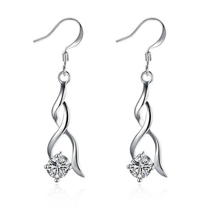 18K White Gold Plated Modern Angel Drop Earring
