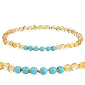 Baltic Amber Bracelet and Necklace with Natural Turquoise