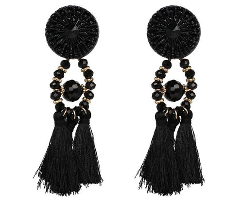 (Anna) Black Tassle Earrings