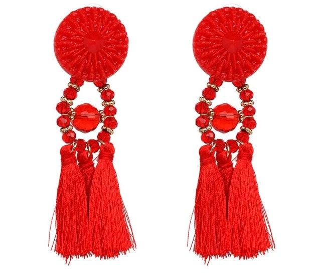 (Anna) Red Tassle Earrings