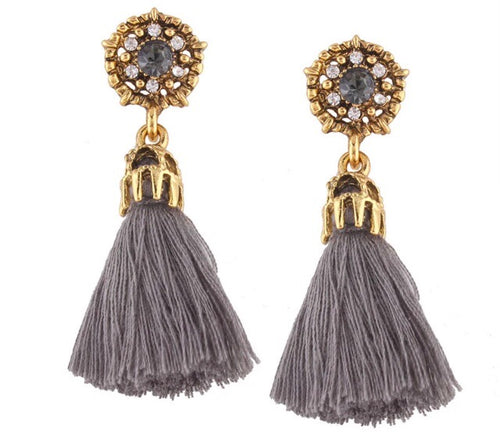 (Clare) Grey Tassel Earrings