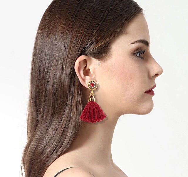 (Clare) Red Tassel Earrings