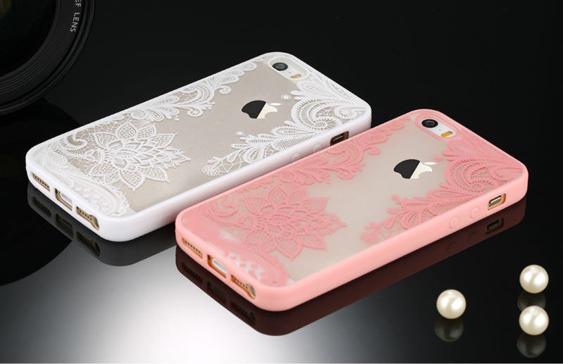White Retro Floral Phone Case