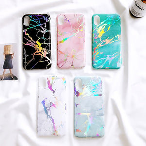 Colorful Holo Laser Marble Phone Case