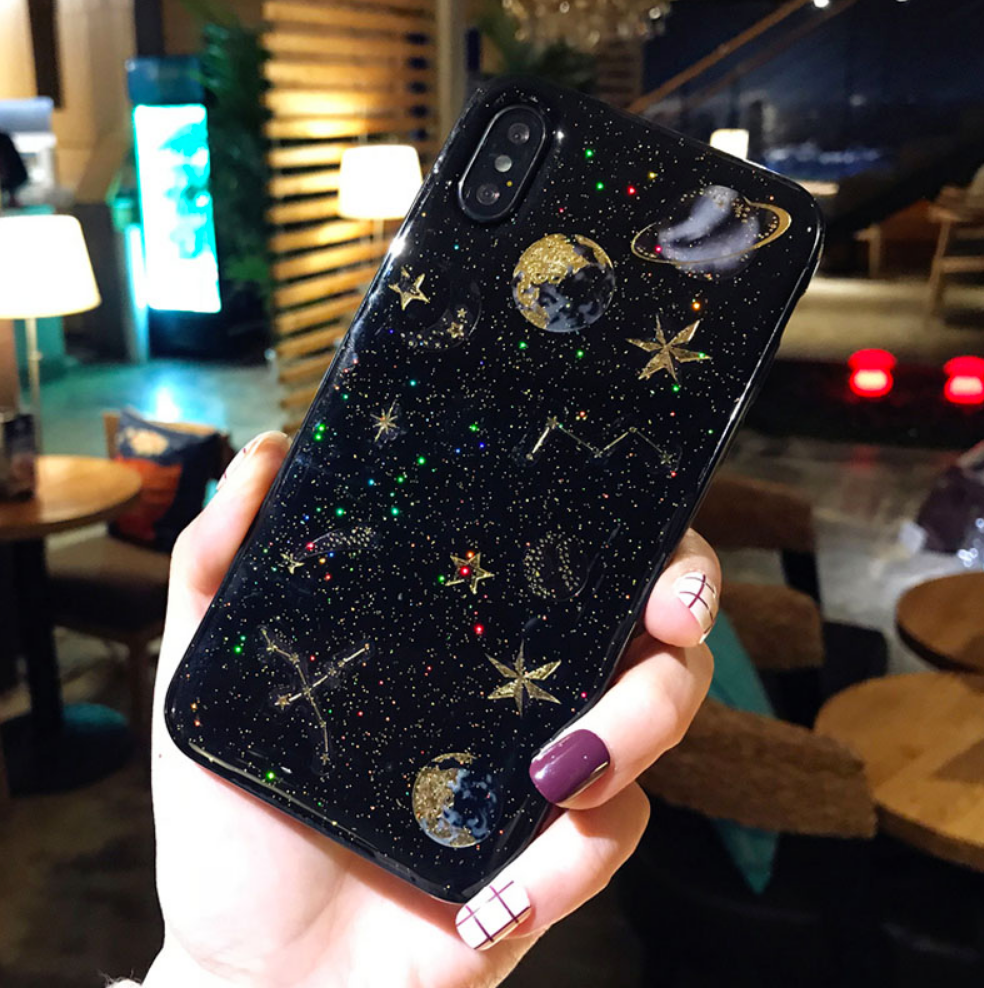 Galaxy starts Black and Gold Phone Case