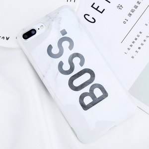 Boss White Marble Phone Case