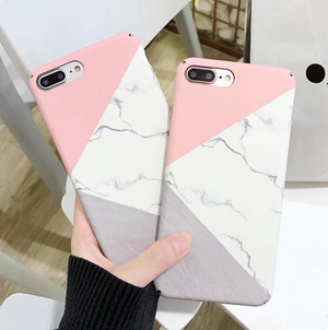 Marble Pink and Grey Phone Case