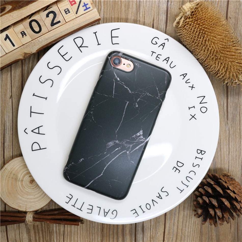 black all marble phone case
