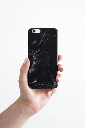 black all marble phone case view