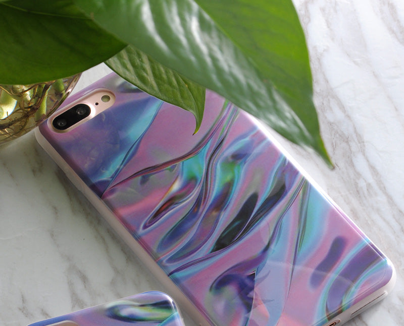 Purple Chrome Marble Phone Case