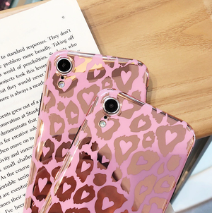 Rosegold Leopard Hearts Phone Case