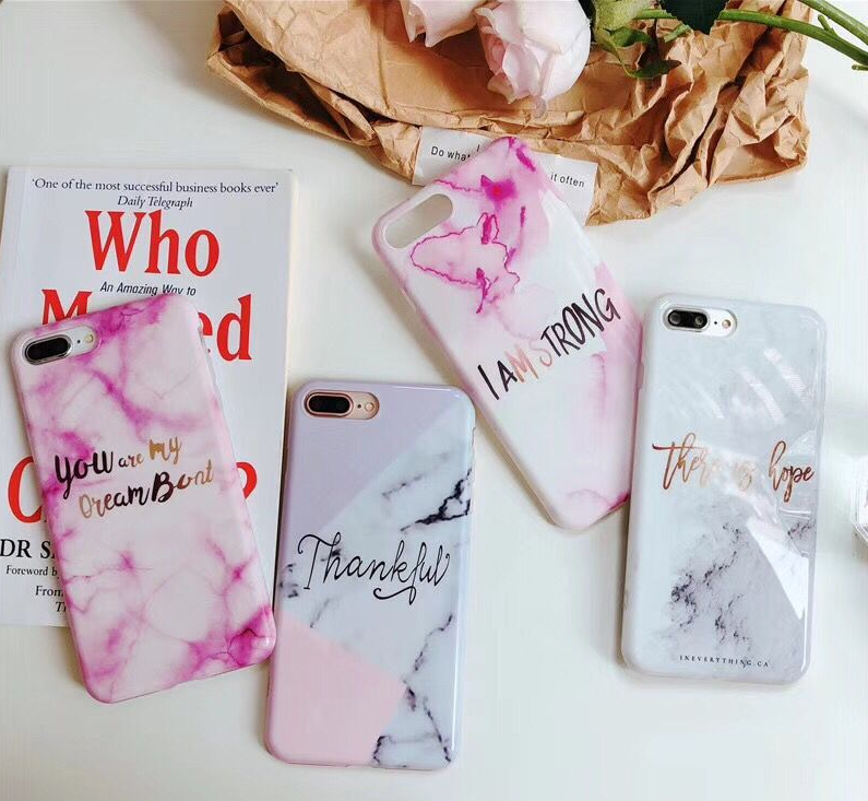 Marble Inspiring Quote Phone Case