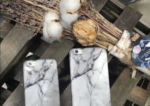 Black and White mix Marble Phone Case flat lay