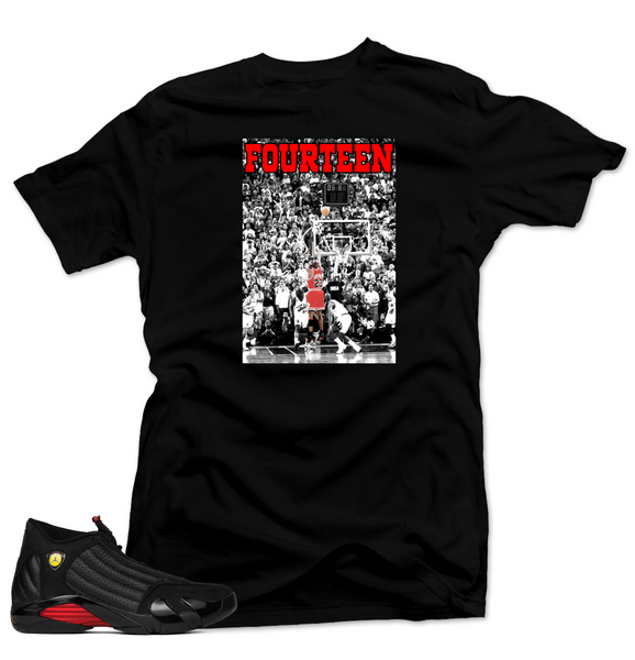 Jordan 14 Last Shot Shirt-FOURTEEN Last Shot Black Tee