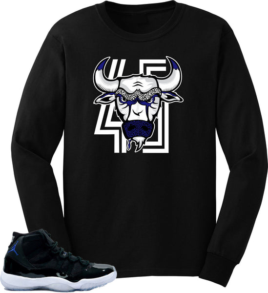 "Long sleeve to match Jordan Retro 11 Space Jam Sneakers""BulI 45 ""Black long sleeve Tee"