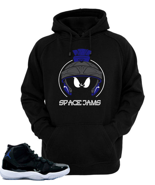Hoodie to match  Air Jordan Retro 11 Space Jam Sneakers-Marvin XI Black Hoodie