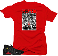 Shirt to Match Jordan 14 Last Shot Shirt-FOURTEEN Last Shot Red Tee