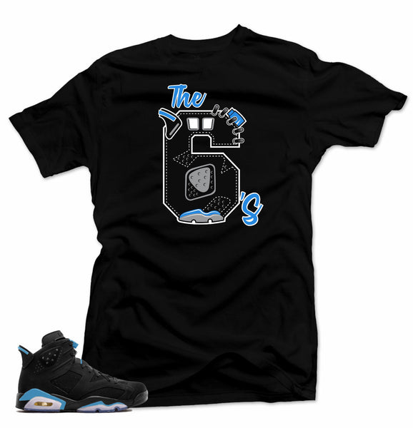 Shirt to match Jordan Retro 6 UNC Sneakers.The 6's Black Tee