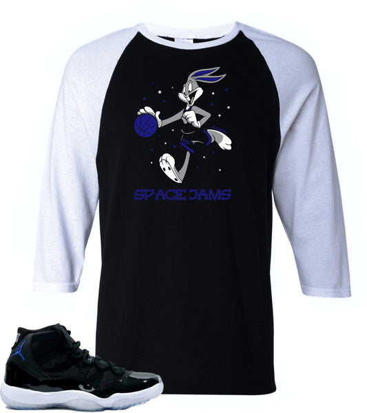 Long Sleeve Shirt to match Air Jordan 11 Space Jam sneakers-Bugs Bunny Raglan Black/WhiteTee