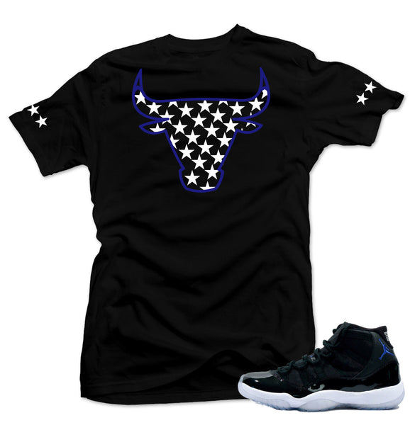 "Shirt to match Air Jordan 11 Space Jam Sneakers ""Bull XI"" Black Tee"