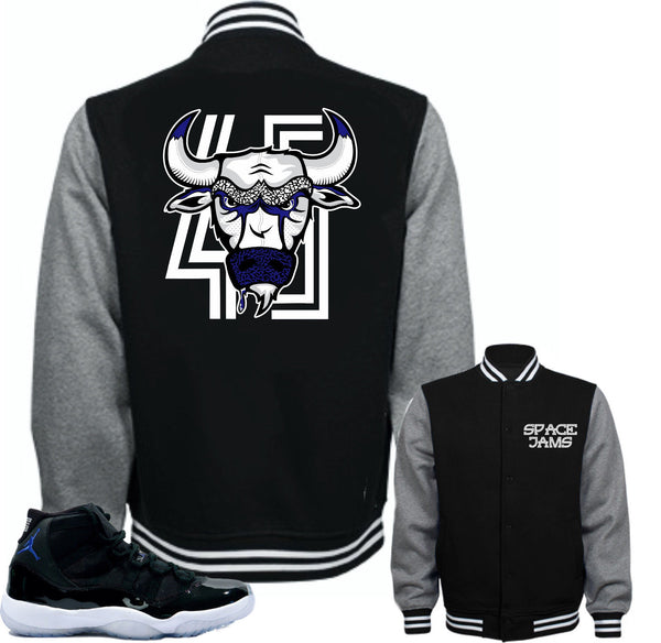 "Jacket to match Air Jordan Retro 11 Space Jam sneakers ""Bull 45"" Black Jacket"