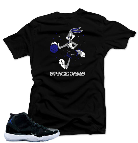 "Shirt to match  Air Jordan 11 Space Jam Sneakers  ""Bugs Bunny"" Black Tee"