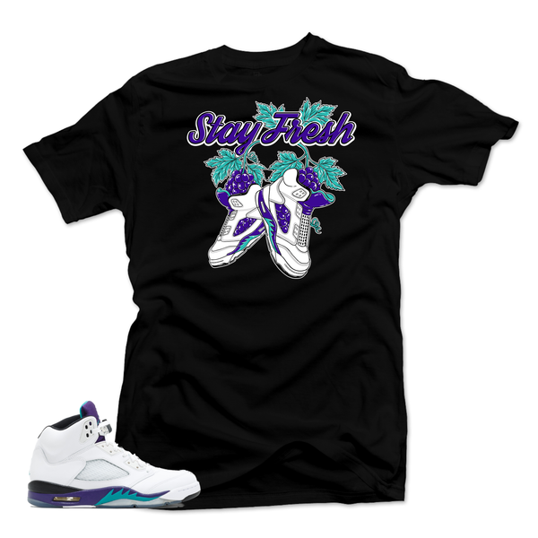 Jordan 5 Grape Fresh Prince. Fresh Black Tee