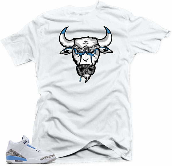 Jordan 3 Unc Cement Sneaker Shirt to Match- Bull 3 White