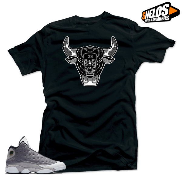 Jordan 13 Atmosphere Grey Retro Match Shirts-Bull 13 Black Tee