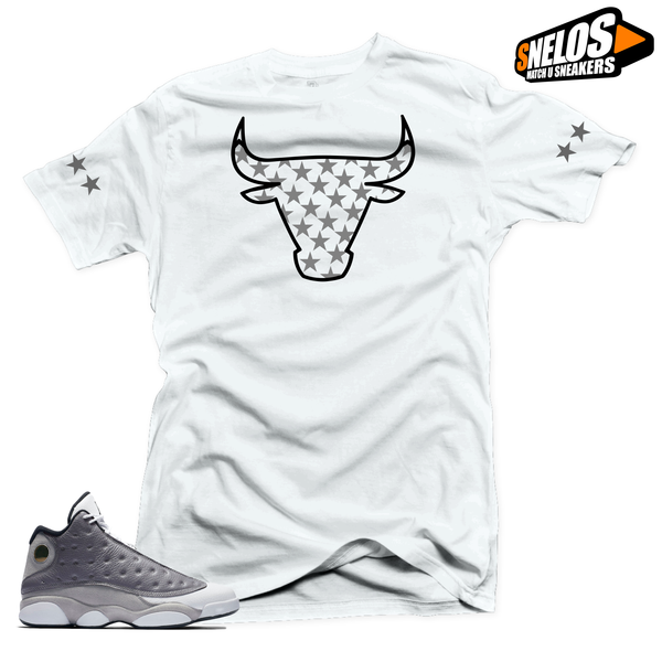 Jordan 13 Atmosphere Grey Retro Match Shirts-Bull Stars White Tee
