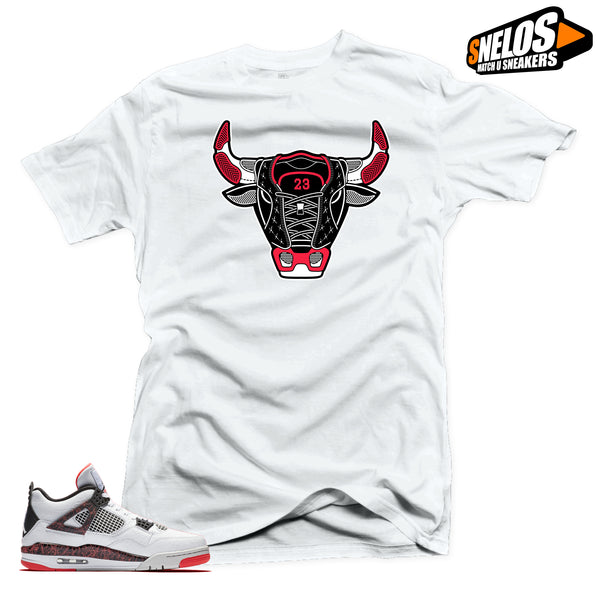 Jordan 4 Retro Hot Lava Sneaker Match-Bull 4 White Tee