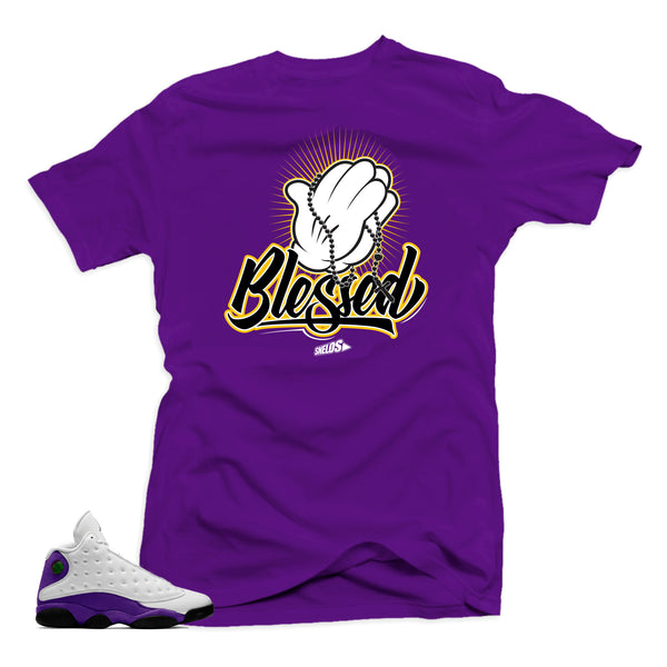 Jordan Retro 13 Lakers Sneaker Tee Shirt- Blessed Purple.