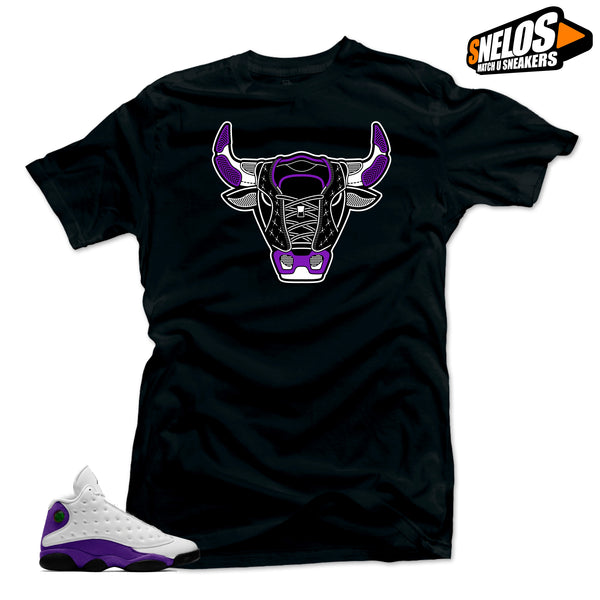 Jordan Retro 13 Lakers Sneaker Tees Shirt- Bull