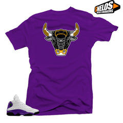 Jordan Retro 13 Lakers Sneaker Tees Shirt- Bull Purple