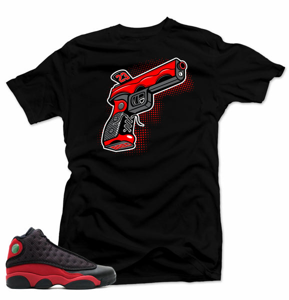 Match Air Jordan Bred 13s. 9 MM Gun Black Tee