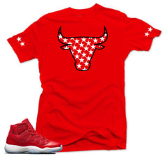 Jordan 11 Win like 96 Shirt-STAR BULL Red Tee