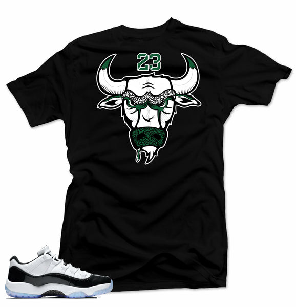 Jordan 11 low Emerald Shirt-BULL 23 Black Tee