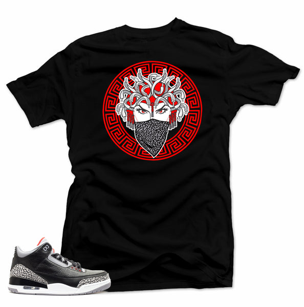 Jordan 3 Black Cement sneakers. Medusa 3 Black Tee
