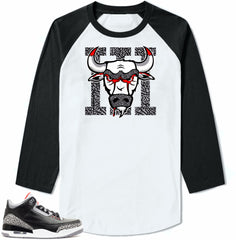 Jordan 3 Black Cement sneakers. Bull 3 White/Black long sleeve tee