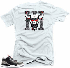 Jordan 3 Black  Cement sneakers. Bull 3 White Tee