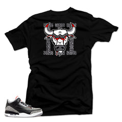 Jordan 3 Black Cement sneakers. Bull 3 Black Tee