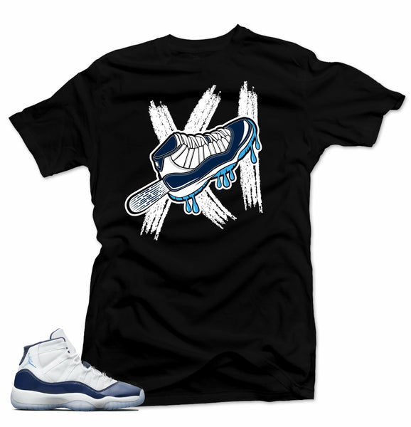 Jordan 11 Navy Win like 82 sneakers. Sole Ice Black Tee