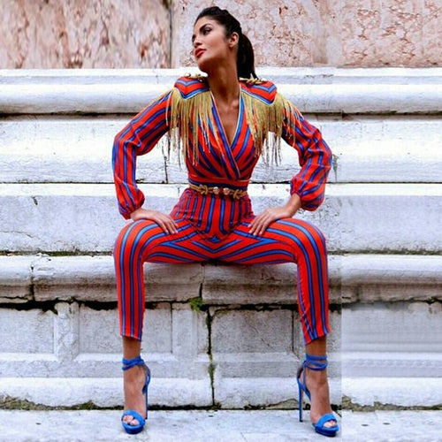 Envy Red Stripe Jumpsuit with Gold Tassels