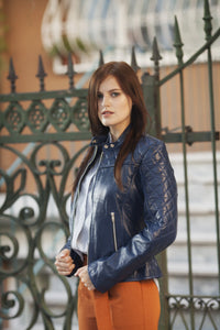 shoulder quilted leather jacket