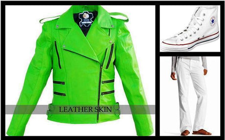 fresh green leather jacket