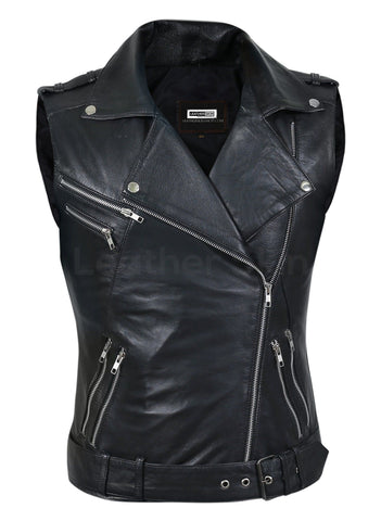 Women Black Belted Motorcycle Leather Vest With Silver Zippers